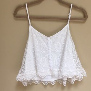 White Lace crop Cami Top. Size L